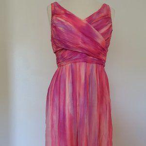 NEW Coral Purple Short Chiffon Dress 6 8 10 large